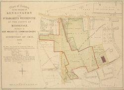 Plan of estates in the parishes of Kensington and St Margarets Westminster, in the county of Middlesex, purchesed by Her Majesty's Commissioners for the Exhibition of 1851